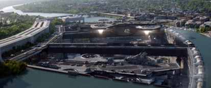 A helicarrier takes off!