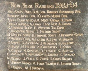 The 1993-'94 Rangers' names on the Cup
